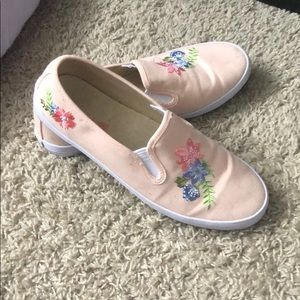 Pink slip ons with embroidered flowers